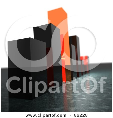 Royalty-Free (RF) Clipart Illustration of a 3d Black And Orange Bar Graph On A Gray Floor by MacX