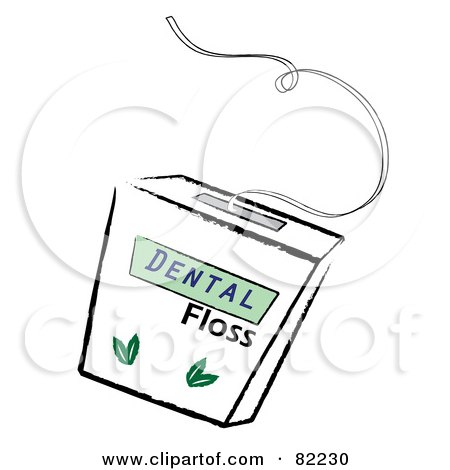 Royalty-Free (RF) Clipart Illustration of a Container Of Mint Dental Floss by Pams Clipart