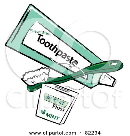 Royalty-Free (RF) Clipart Illustration of a Green Toothbrush And Tube Of Toothpaste With Dental Floss by Pams Clipart
