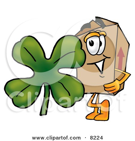 Clipart Picture of a Cardboard Box Mascot Cartoon Character With a Green Four Leaf Clover on St Paddy's or St Patricks Day by Toons4Biz