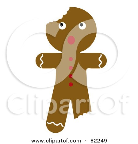 Royalty-Free (RF) Clipart Illustration of a Scared Christmas Gingerbread Man Cookie With Bites by Pams Clipart