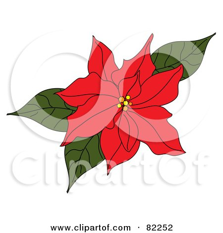 Royalty-Free (RF) Clipart Illustration of a Red Poinsettia Flower With Green Leaves by Pams Clipart