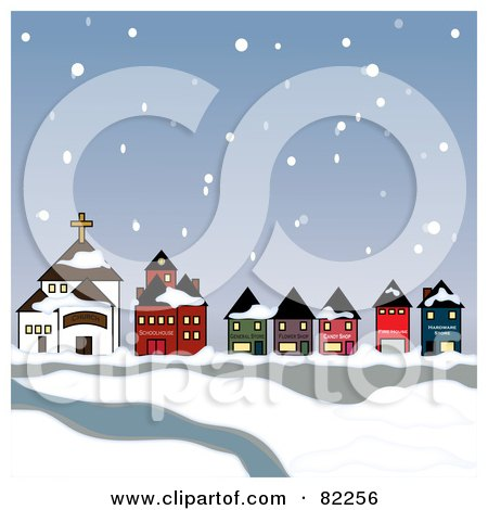 Royalty-Free (RF) Clipart Illustration of Snow Falling Down On A Town And River by Pams Clipart