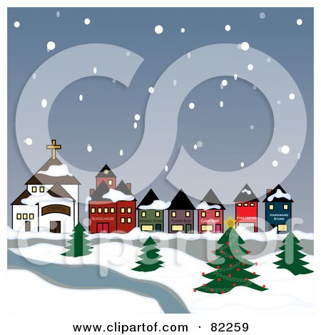 Royalty-Free (RF) Clipart Illustration of Snow Falling Down On A Village And River by Pams Clipart