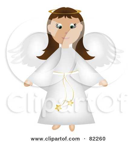 Royalty-Free (RF) Clipart Illustration of a Brunette Christmas Angel In A White Robe by Pams Clipart