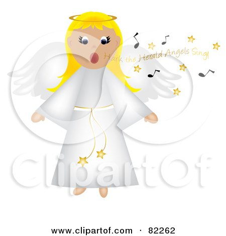 Royalty-Free (RF) Clipart Illustration of a Blond Singing Angel In A White Robe by Pams Clipart