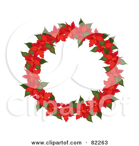 Royalty-Free (RF) Clipart Illustration of a Red Poinsettia Christmas Wreath by Pams Clipart