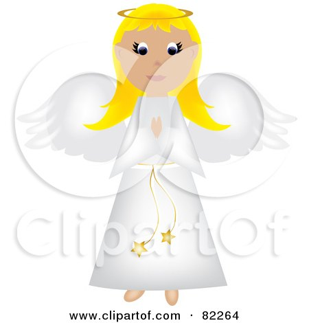 Royalty-Free (RF) Clipart Illustration of a Blond Praying Angel In A White Robe by Pams Clipart