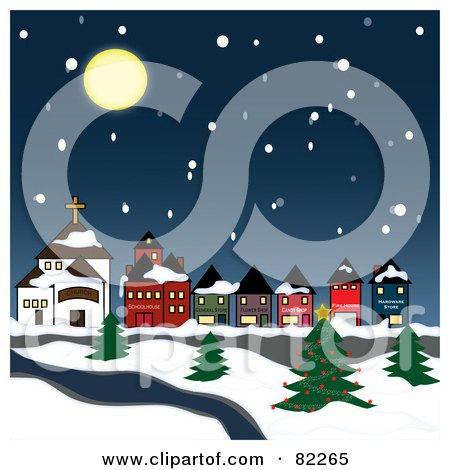 Royalty-Free (RF) Clipart Illustration of a Moon Over A Snowy Winter Village On A River by Pams Clipart