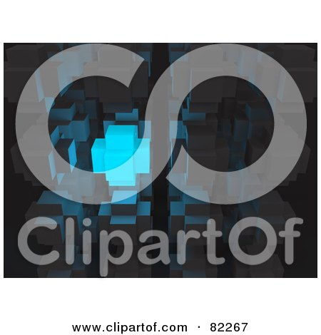 Royalty-Free (RF) Clipart Illustration of a 3d Abstract Blue Glowing Cube In Gray Cubes by Leo Blanchette