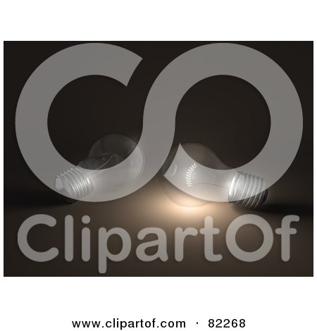 Royalty-Free (RF) Clipart Illustration of Two 3d Light Bulbs Resting On Brown, One Illuminated by Leo Blanchette