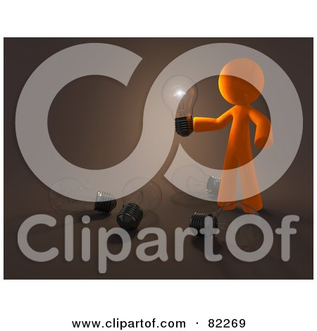 Royalty-Free (RF) Clipart Illustration of a 3d Orange Design Mascot Man Holding An Illuminated Bulb Over Bulbs On The Floor by Leo Blanchette