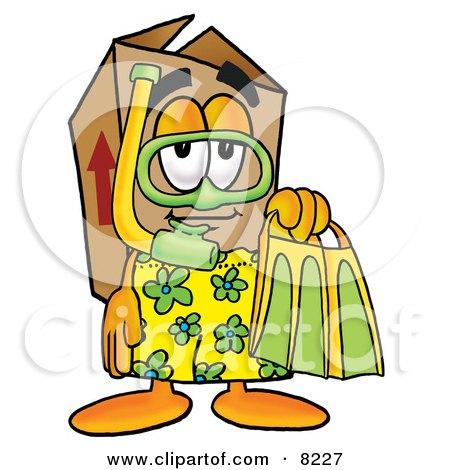 Cardboard Box Mascot Cartoon Character in Green and Yellow Snorkel Gear Posters, Art Prints