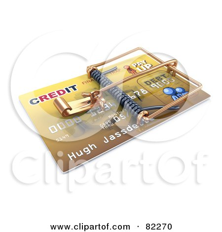 Royalty-Free (RF) Clipart Illustration of a 3d Credit Card Trap Ready To Spring by Leo Blanchette