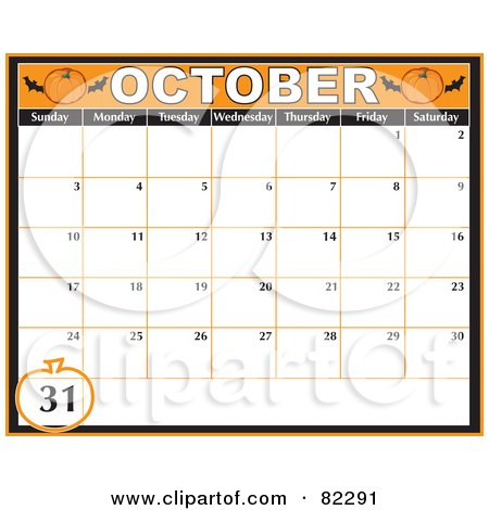 Royalty-Free (RF) Clipart Illustration of an Orange October Halloween Calendar With A Pumpkin Around The 31st Day. by Maria Bell
