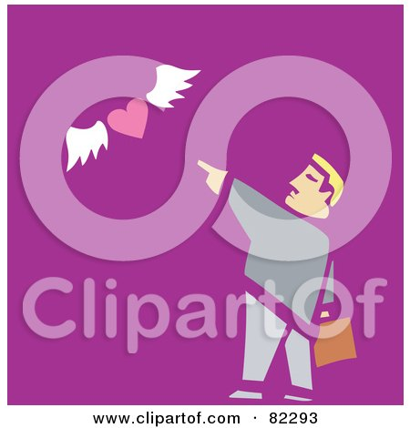 Royalty-Free (RF) Clipart Illustration of a Businessman Pointing To A Flying Heart, On Purple by xunantunich