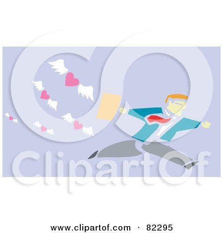 Royalty-Free (RF) Clipart Illustration of a Businessman Running From Flying Hearts, On Purple by xunantunich