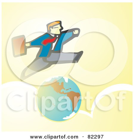 Royalty-Free (RF) Clipart Illustration of a Business Man Running A Leaping Over The Earth And Clouds by xunantunich