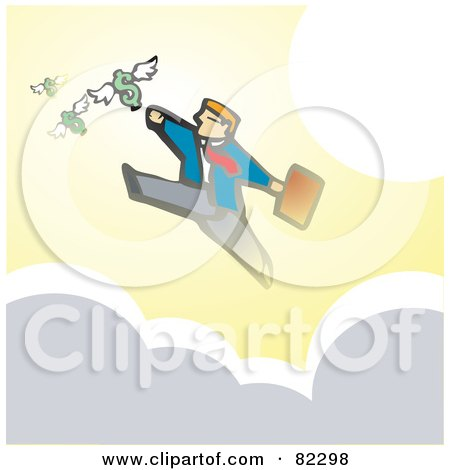Royalty-Free (RF) Clipart Illustration of a Businessman Running On Clouds And Reaching For Flying Dollars by xunantunich