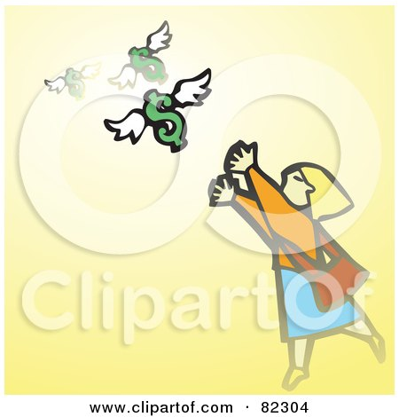 Royalty-Free (RF) Clipart Illustration of a Woman Reaching For Flying Dollars, On Yellow by xunantunich