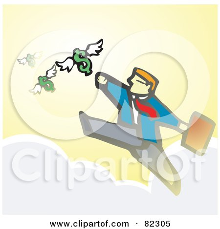 Royalty-Free (RF) Clipart Illustration of a Businessman Walking On Clouds And Reaching For Flying Dollars by xunantunich