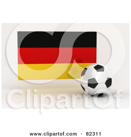Royalty-Free (RF) Clipart Illustration of a 3d Soccer Ball In Front Of A Reflective Germany Flag by stockillustrations