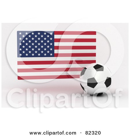 Royalty-Free (RF) Clipart Illustration of a 3d Soccer Ball In Front Of A Reflective USA Flag by stockillustrations