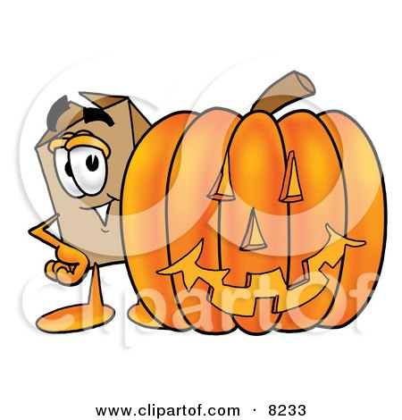 Clipart Picture of a Cardboard Box Mascot Cartoon Character With a Carved Halloween Pumpkin by Toons4Biz