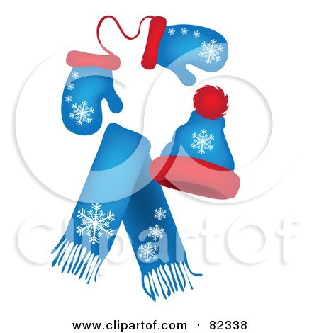 Royalty-Free (RF) Clipart Illustration of a Set Of Blue And Red Winter Mittens, A Hat And Scarf With Snowflake Patterns by Pams Clipart