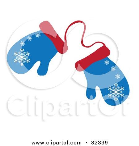 Royalty-Free (RF) Clipart Illustration of a Pair Of Blue And Red Winter Mittens With Snowflake Patterns by Pams Clipart