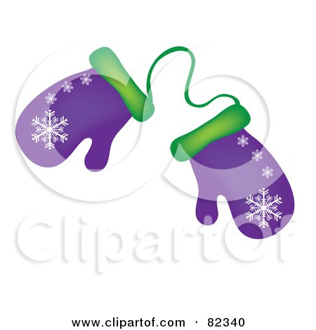Royalty-Free (RF) Clipart Illustration of a Pair Of Purple And Green Winter Mittens With Snowflake Patterns by Pams Clipart