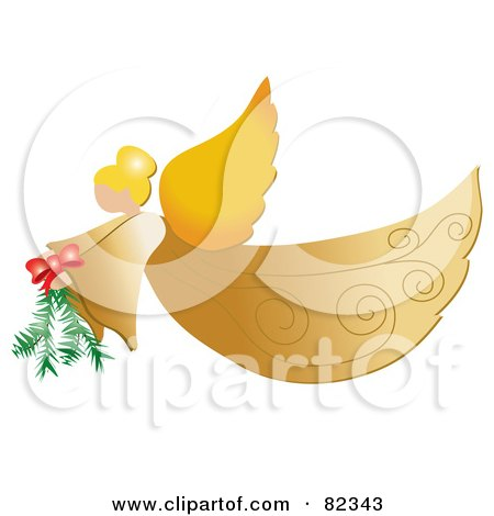 Royalty-Free (RF) Clipart Illustration of a Golden Christmas Flying Angel Carrying A Pine Bough by Pams Clipart