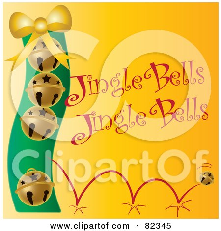 Royalty-Free (RF) Clipart Illustration of Golden Bouncing Christmas Bells With Jingle Bells Text On Yellow by Pams Clipart