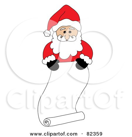 Royalty-Free (RF) Clipart Illustration of Santa Standing Behind A Long Scrolled List; Naughty Or Nice by Pams Clipart