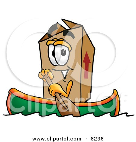 Clipart Picture of a Cardboard Box Mascot Cartoon Character Rowing a Boat by Toons4Biz