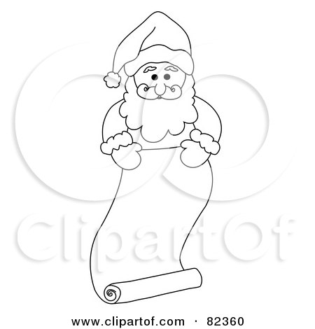 Royalty-Free (RF) Clipart Illustration of a Black And White Outline Of Santa Standing Behind A Long Scrolled List; Naughty Or Nice by Pams Clipart