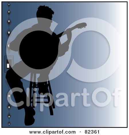 Royalty-Free (RF) Clipart Illustration of a Black Silhouetted Male Guitarist Sitting On A Stool Over Gradient Blue With Beads On The Left by Pams Clipart