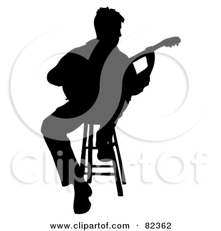 Royalty-Free (RF) Clipart Illustration of a Black Silhouetted Male Guitarist Sitting On A Stool by Pams Clipart