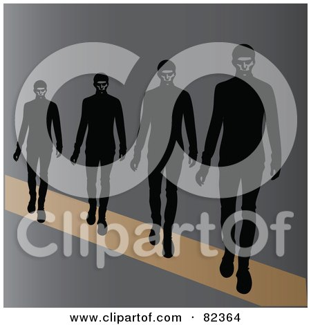 Royalty-Free (RF) Clipart Illustration of a Line Of Male Models Walking On A Runway by Pams Clipart