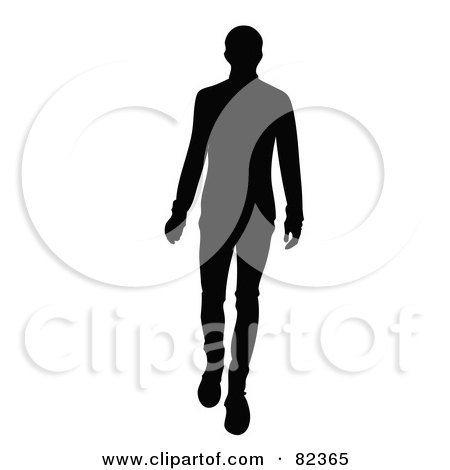 Royalty-Free (RF) Clipart Illustration of a Black Silhouette Of A Male Model Walking Forward by Pams Clipart