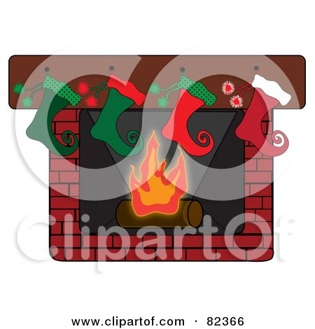 Royalty-Free (RF) Clipart Illustration of a Row Of Curly Toed Elf Styled Christmas Stockings Hung On A Brick Fireplace by Pams Clipart