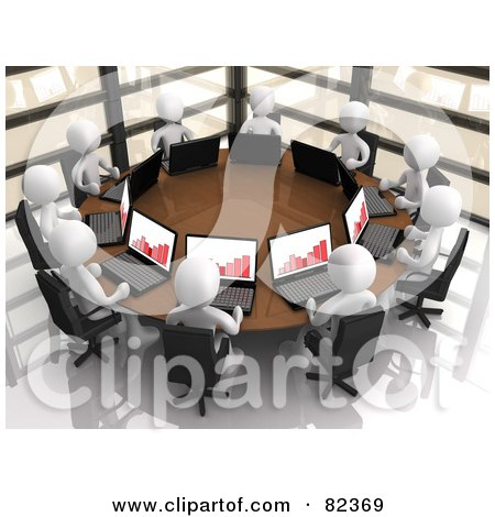 Royalty-Free (RF) Clipart Illustration of a Circle Of 3d White People With Bar Graphs On Their Laptops, Discussing Financials In A Corporate Meeting by 3poD
