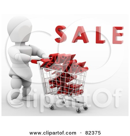 Royalty-Free (RF) Clipart Illustration of a 3d White Character Pushing A Shopping Cart Of Discount Deals Under Sale by KJ Pargeter