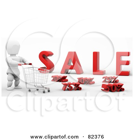 Royalty-Free (RF) Clipart Illustration of a 3d White Character Pushing A Shopping Cart Past Discounts In Front Of Sale by KJ Pargeter