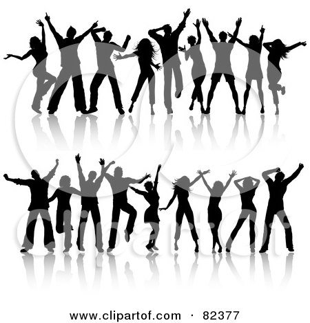 Royalty-Free (RF) Clipart Illustration of a Digital Collage Of Two Rows Of Young Silhouetted Black Dancers by KJ Pargeter