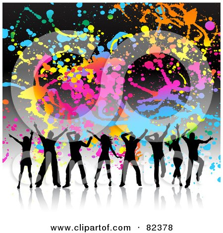 Royalty-Free (RF) Clipart Illustration of a Colorful Splatter Grunge Background With Silhouetted Dancers by KJ Pargeter