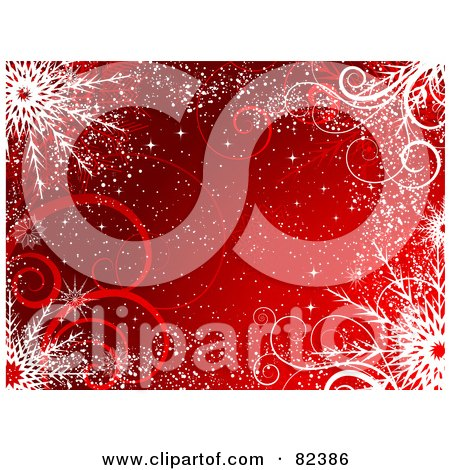 Royalty-Free (RF) Clipart Illustration of a Red Winter Background With Snow, Swirls And Snowflakes by KJ Pargeter
