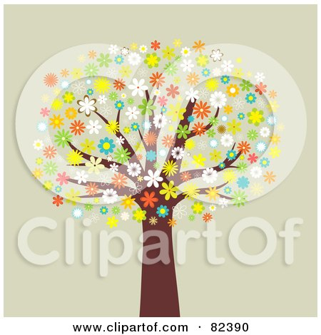 Royalty-Free (RF) Clipart Illustration of a Mature Tree With Colorful Blossoming Flowers by KJ Pargeter