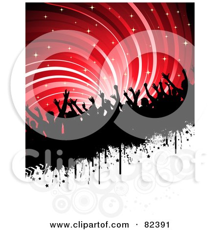 Royalty-Free (RF) Clipart Illustration of a Slanted Bar Of Silhouetted People Under Sparkly Red Swirls Above White With Circles  by KJ Pargeter