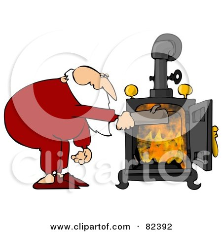 Royalty-Free (RF) Clipart Illustration of Santa In His Pjs, Inserting A Log Into His Wood Stove by djart
